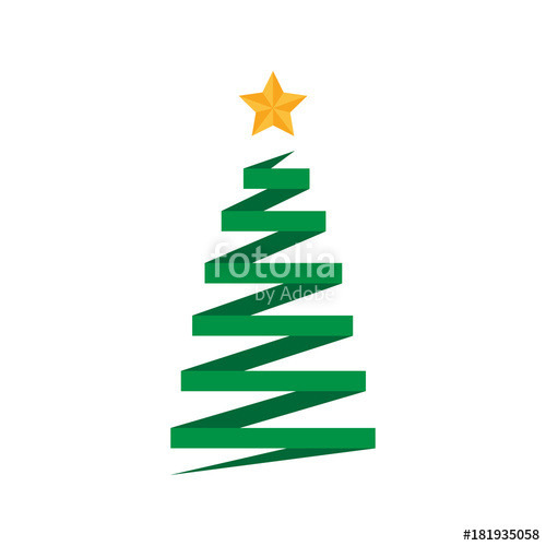 500x500 Origami Folded Paper Christmas Tree With Golden Star. Xmas Tree