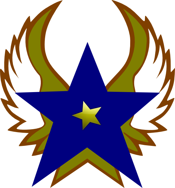 558x598 Blue Star With 1 Gold Star And Wings Png, Svg Clip Art For Web