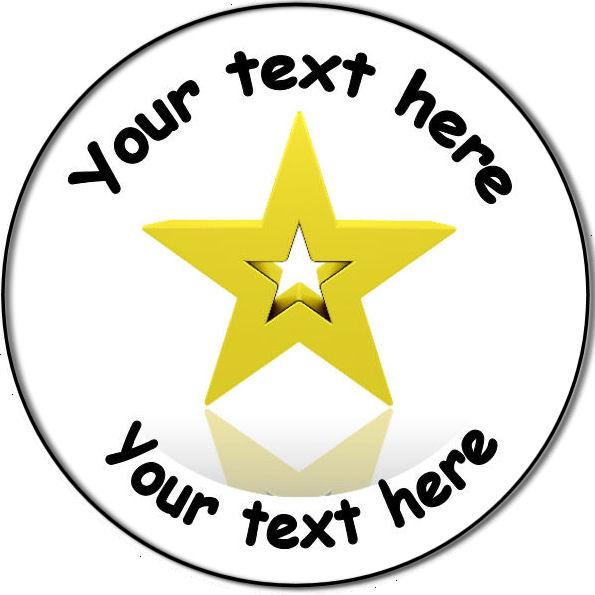 595x595 Personalised Custom Badge Education And School Gold Star Award