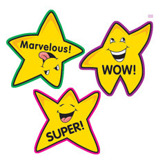 229x229 Teacher Stickers 100 Fun Shape Gold Star Reward School Stickers