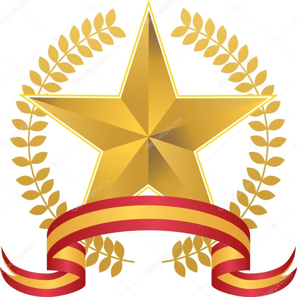 1024x1024 Gold Star With Wreath Stock Vector Cteconsulting