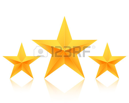 450x360 Illustration Of Set Of Gold Stars Icon. Five Stars Icon Template