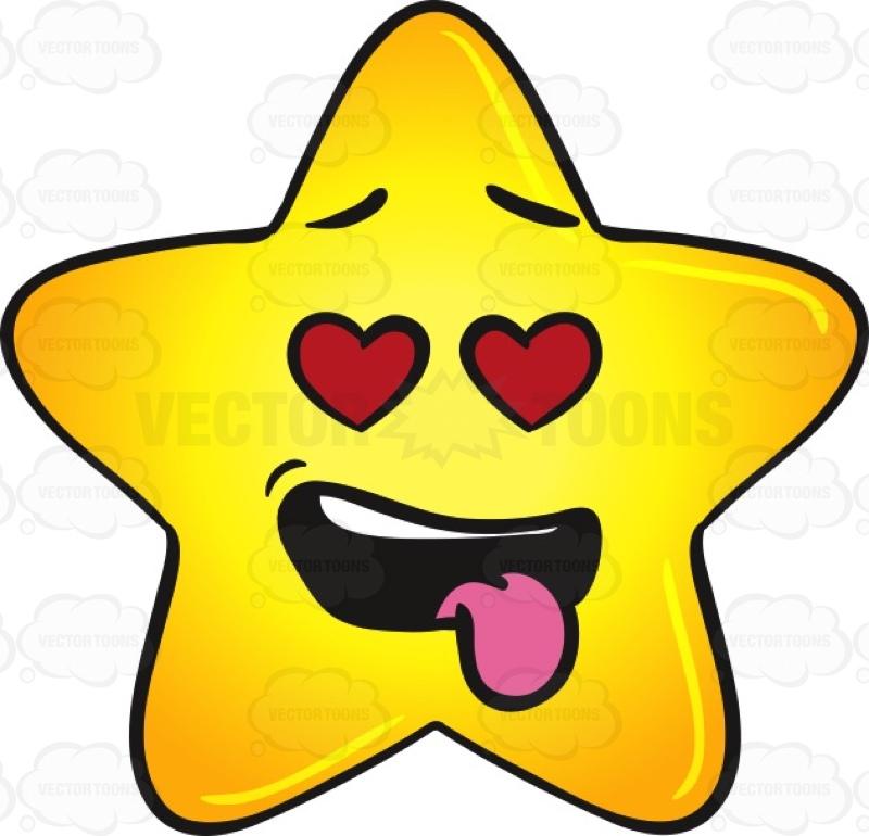 800x770 Love Struck Gold Star Cartoon With Hanging Tongue Emoji Cartoon