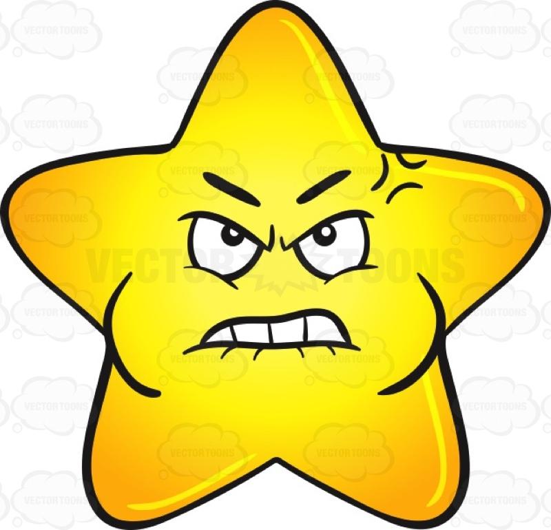 800x770 Single Gold Star Cartoon Looking Mad And Bruised Emoji Cartoon