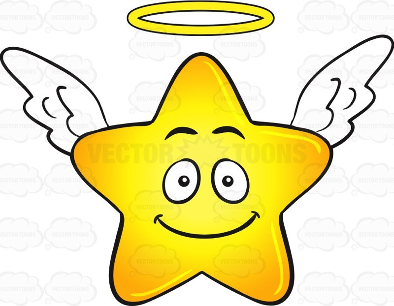 800x622 Smiling Gold Star Cartoon With Halo And Wings Emoji Cartoon