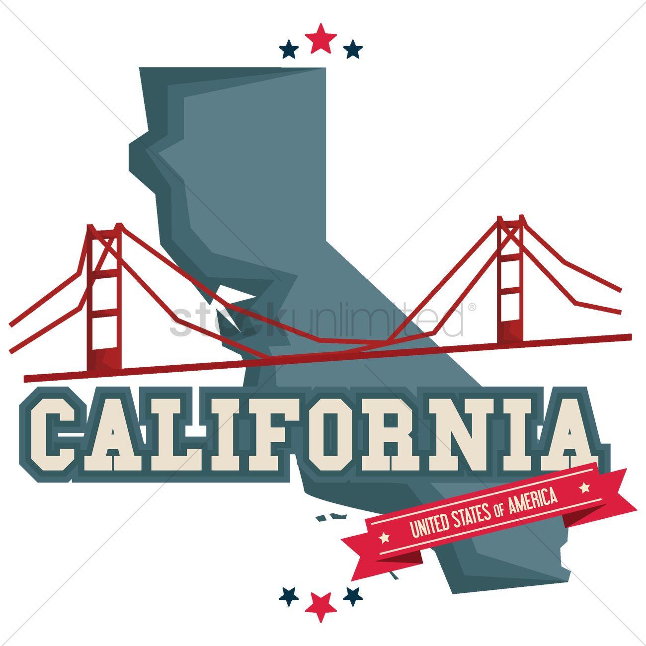 California word. Golden gate bridge clipart