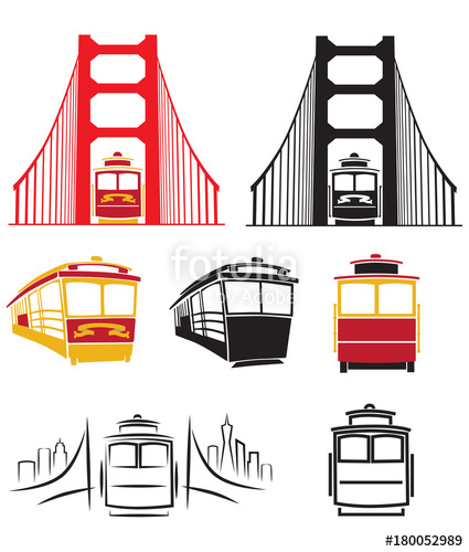 425x500 Golden Gate Bridge And Cable Car Trolley Vector Illustration Pack