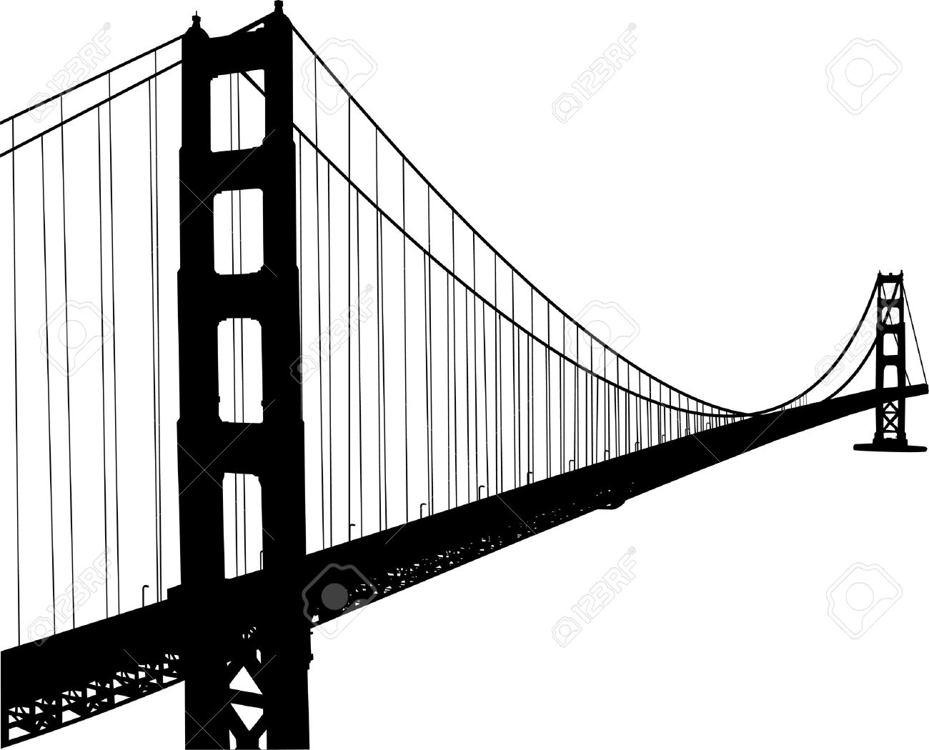 1300x1050 Golden Gate Clipart Black And White