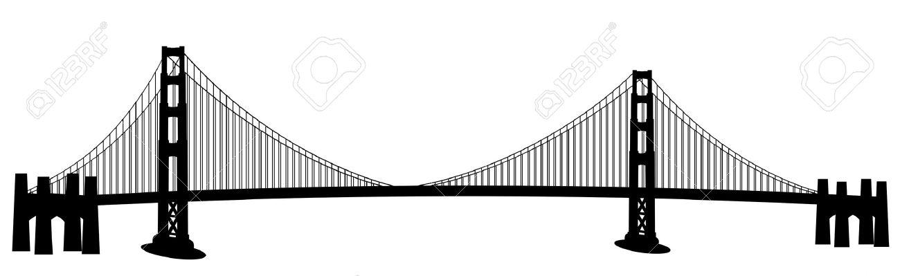 1300x399 San Francisco Golden Gate Bridge Black And White Clip Art Stock