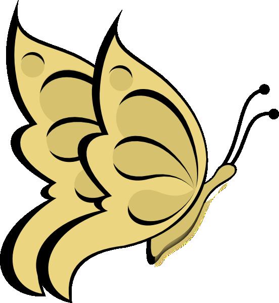 552x599 Golden Butterfly Clipart