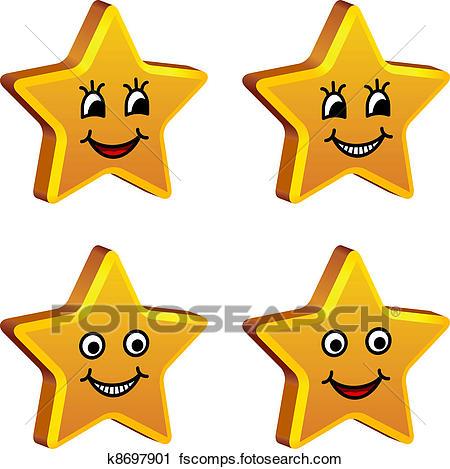 450x469 Clipart Of Vector 3d Golden Smiling Stars K8697901