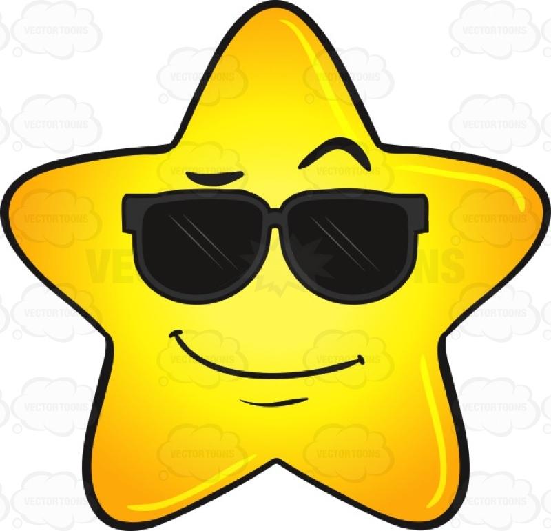 800x770 Cool Gold Star Wearing Sunglasses Emoji