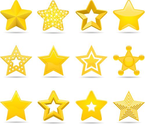 500x427 Golden Star Icons Set Free Vector In Adobe Illustrator Ai ( Ai