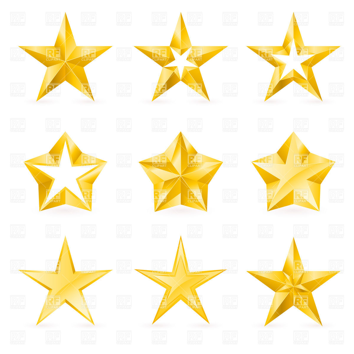 1200x1200 Stylish Five Point Golden Stars With Facets Royalty Free Vector