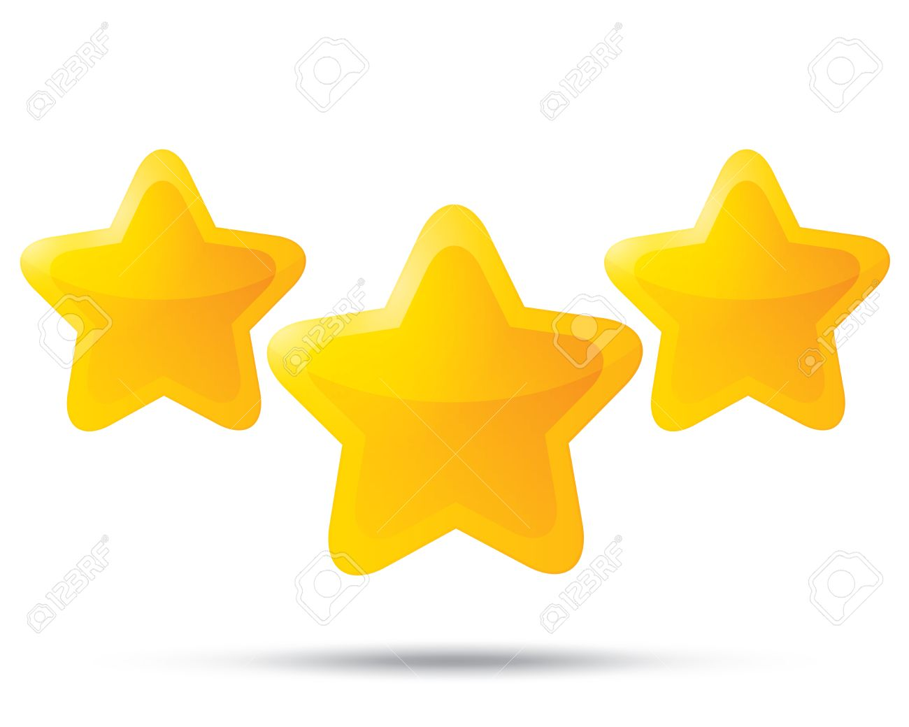 1300x1040 Three Golden Stars. Star Icons On White Background. Five Pointed