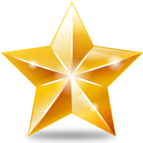 500x500 Golden Star Three Isolated Stock Photo By