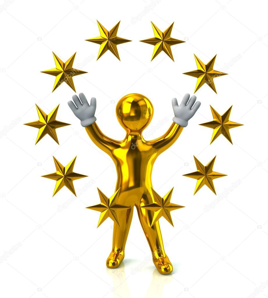 921x1023 Golden Man With Golden Stars Stock Photo Valdum