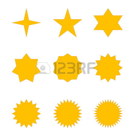 450x450 Set Of Many Different Golden Stars In White Stock Photo, Picture