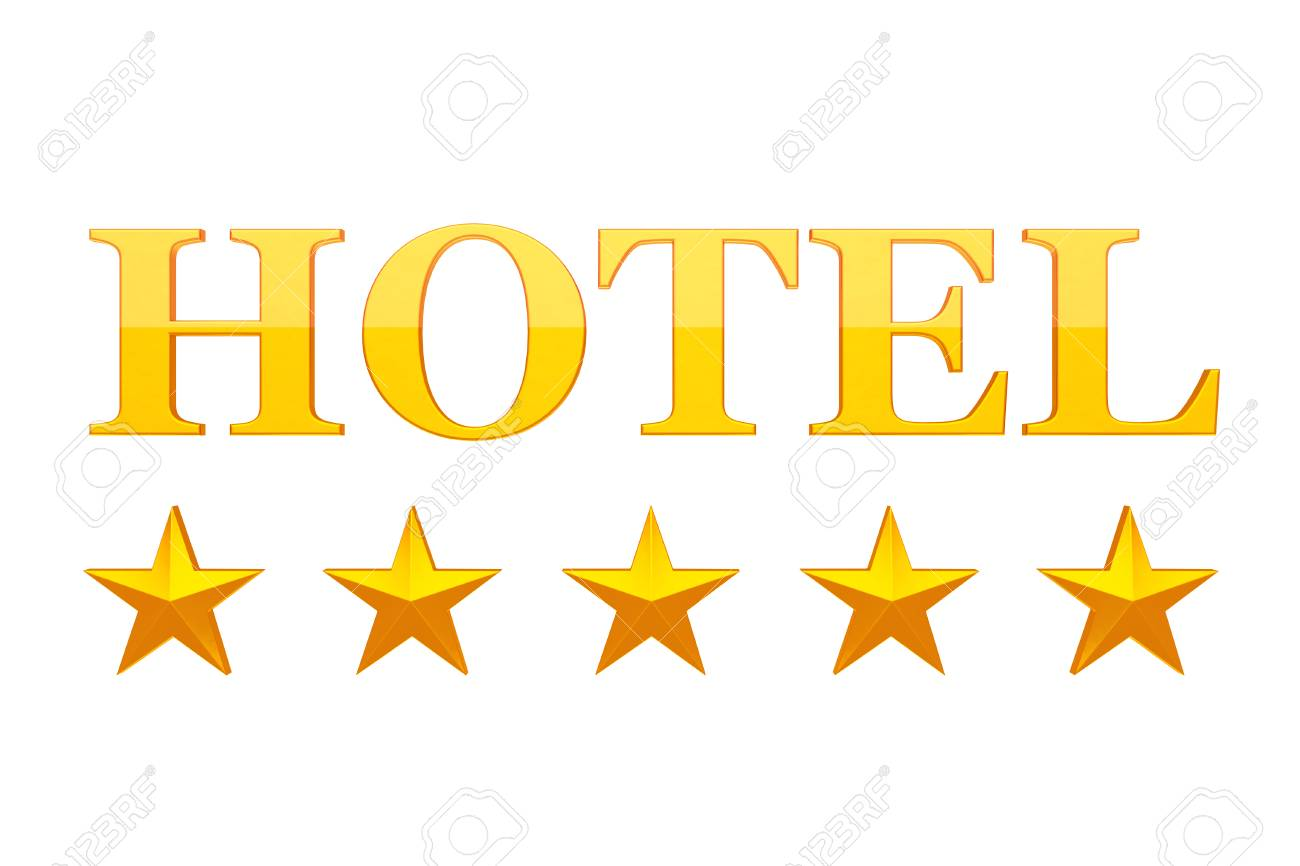 1300x866 Five Golden Stars Hotel Sign On A White Background. 3d Rendering