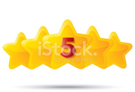441x300 Five Golden Stars With Star Icons On Premium Clipart