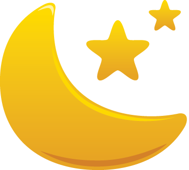 374x336 Kids Golden Moon And Stars Decal