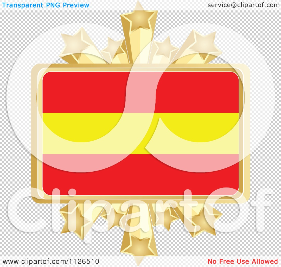 1080x1024 Clipart Of A Spanish Flag With A Golden Stars Frame