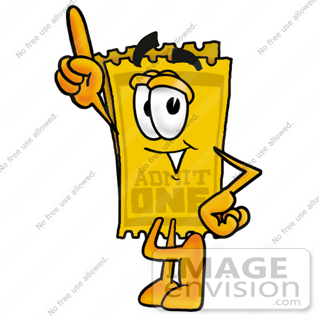450x450 Clip Art Graphic Of A Golden Admission Ticket Character Pointing