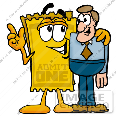 450x450 Clip Art Graphic Of A Golden Admission Ticket Character Talking