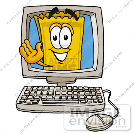 450x450 Clip Art Graphic Of A Golden Admission Ticket Character Waving