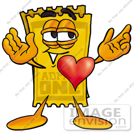 450x450 Clip Art Graphic Of A Golden Admission Ticket Character With His