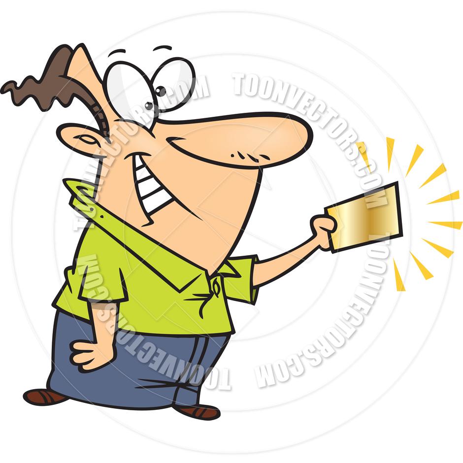 940x940 Cartoon Man With Golden Ticket By Ron Leishman Toon Vectors Eps