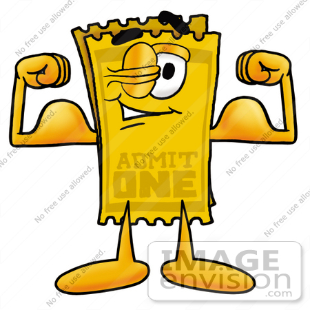 450x450 Clip Art Graphic Of A Golden Admission Ticket Character Flexing