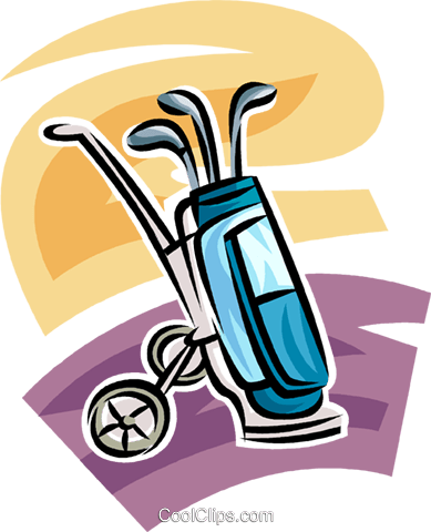 389x480 Golf Cart And Bag With Clubs Royalty Free Vector Clip Art