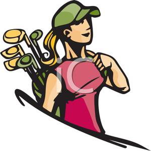 300x300 Colorful Cartoon Of A Woman Carrying A Golf Bag With Clubs