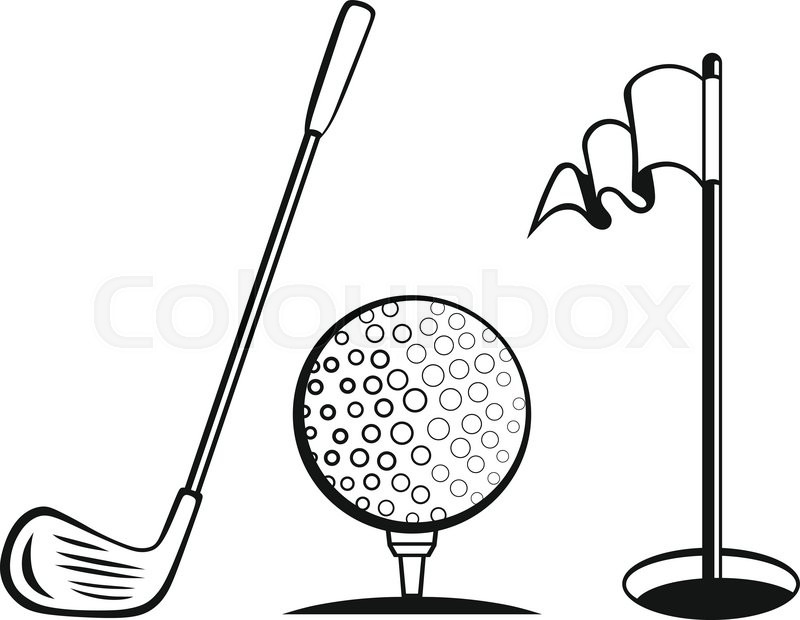 800x620 Golf Icon Set. Golf Flag, Golf Ball And Golf Stick Stock Vector