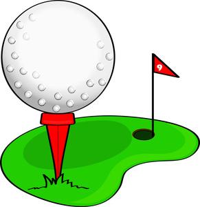 291x300 Clip Art Illustration Of A Cartoon Golf Ball On A Golf Course