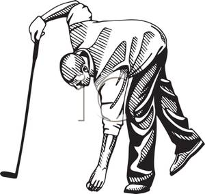 300x284 Black And White Cartoon Of A Man Placing A Golf Ball On The Ground