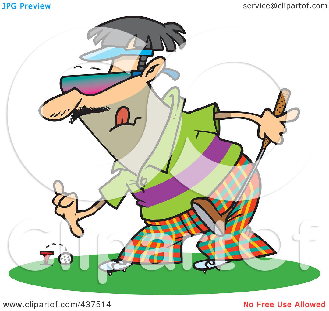 1080x1024 Royalty Free (Rf) Clip Art Illustration Of A Man Putting A Golf