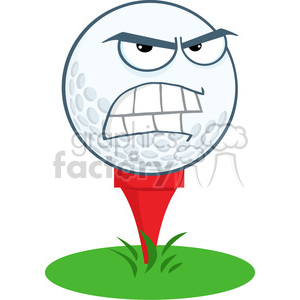 300x300 Royalty Free 5708 Royalty Free Clip Art Angry Golf Ball Over Tee