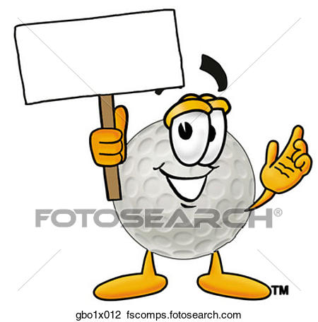 450x456 Clipart Of Golf Ball With Sign Gbo1x012