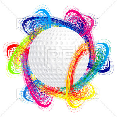 400x400 Golf Ball With Colorful Waves Royalty Free Vector Clip Art Image