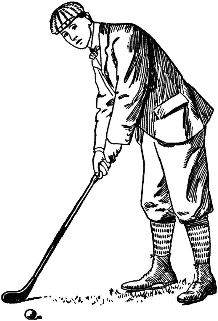 Golf retro. Clipart black and white