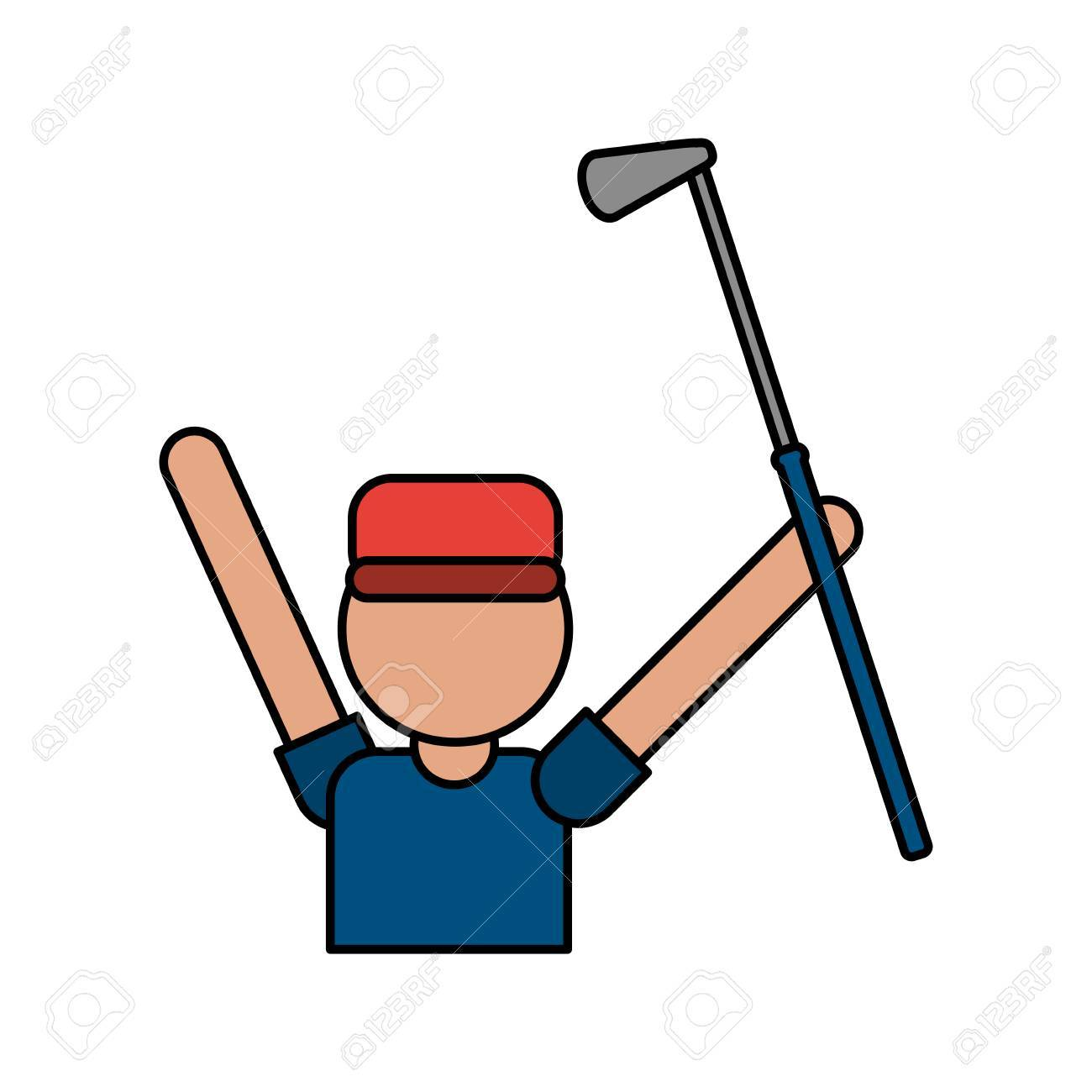 1300x1300 Color Image Cartoon Faceless Half Body Golfer Man With Golf Club