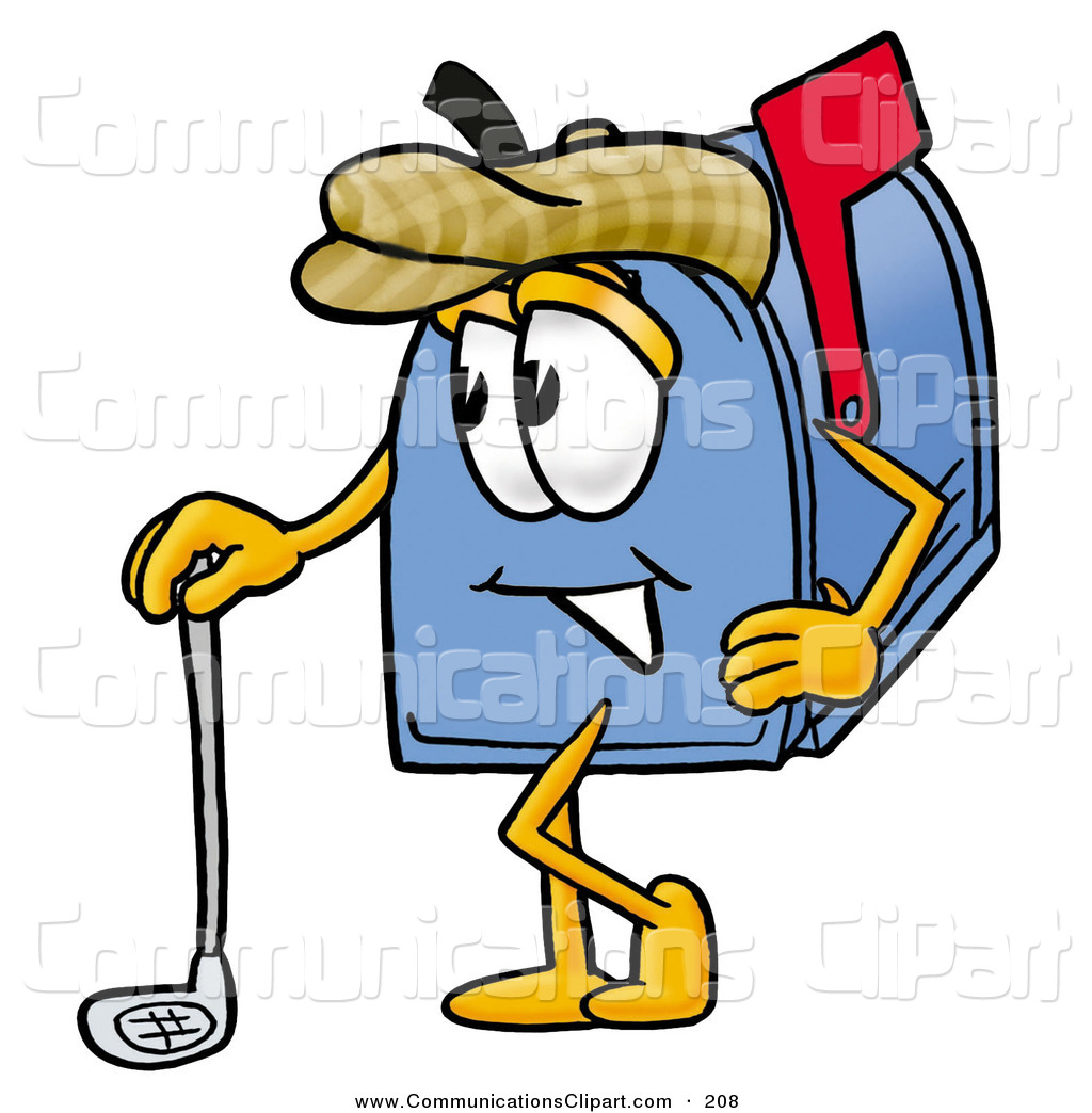 1024x1044 Communication Clipart Of A Sporty Blue Postal Mailbox Cartoon