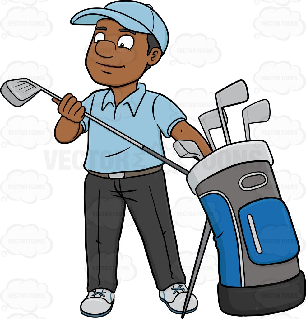 984x1024 A Black Golfer Inspecting His Golf Club Cartoon Clipart