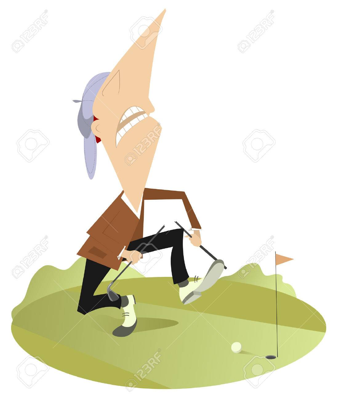 1095x1300 Angry Golfer Has Broken His Golf Club Royalty Free Cliparts