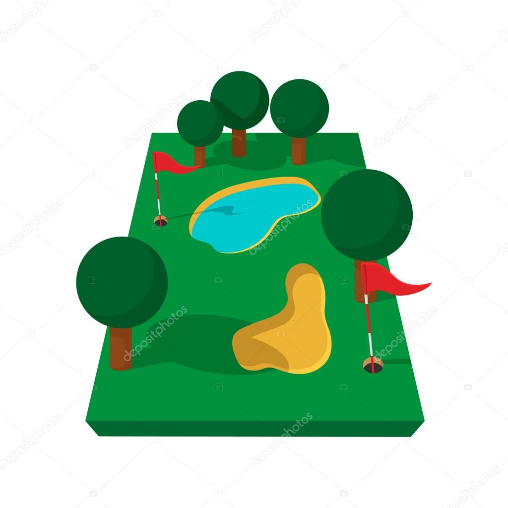 1024x1024 Golf Course Cartoon Icon Stock Vector Juliarstudio