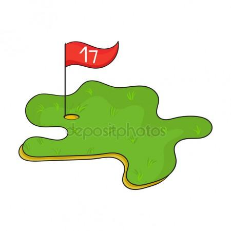 450x450 Golf Course Icon In Cartoon Style Isolated On White Background