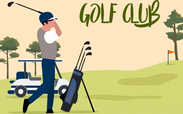 600x374 Golf Game Background Player Icon Cartoon Design Free Vector