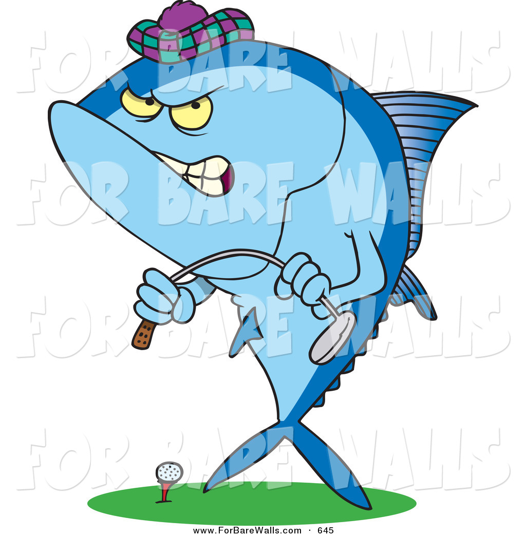 1024x1044 Printable Illustration Of A Cartoon Mad Tuna Fish Playing Golf